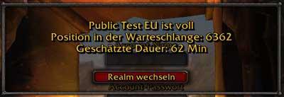 WoW EU Testserver, Warteschlange
